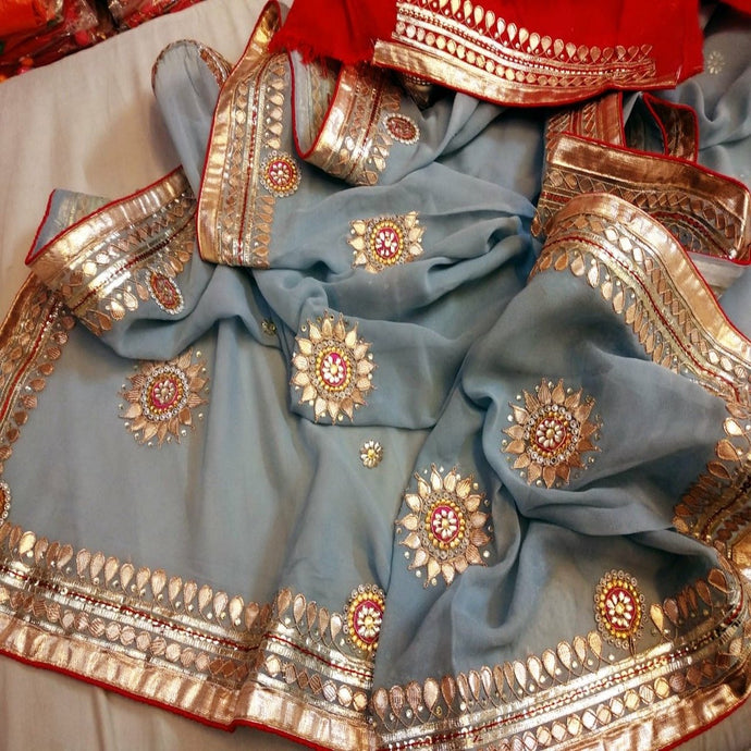Grey and red saree with gota patti work