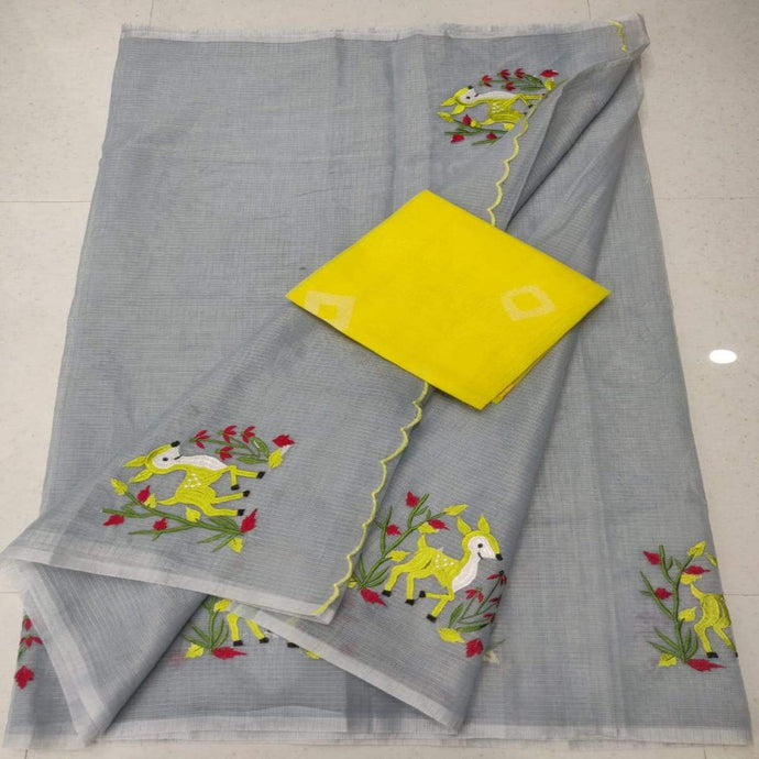 Grey and yellow kota embroidered saree, Kota cotton sarees online, kota cotton saree