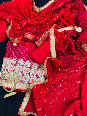 Heavy Bandhani Suit With Gota Patti Work In Red,Jaipuri Bandhani Suit,Rajasthani Gota Patti Work Suits