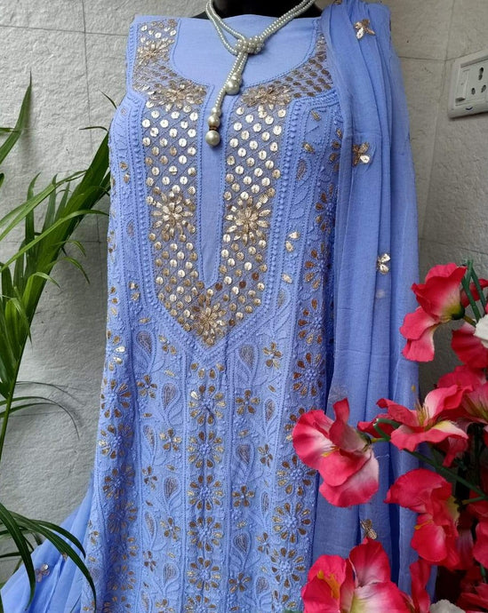 Heavy Chikankari Gota Salwar Suit In Blue,Chikanakri Salwar Suits Online