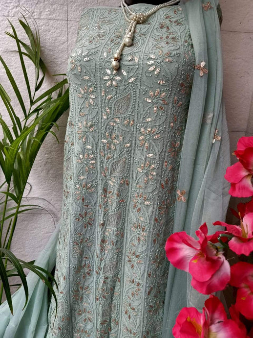 Heavy Chikankari Gota Salwar Suit In Grey Color -1,Punjabi Chikan Work Salwar Suits