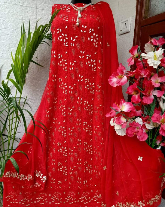Heavy Red Chikankari Gota Salwar Suit,Punjabi Chikan Work Salwar Suits