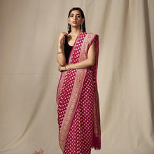 Load image into Gallery viewer, Rani Pink Heavy Khaddi Georgette Saree