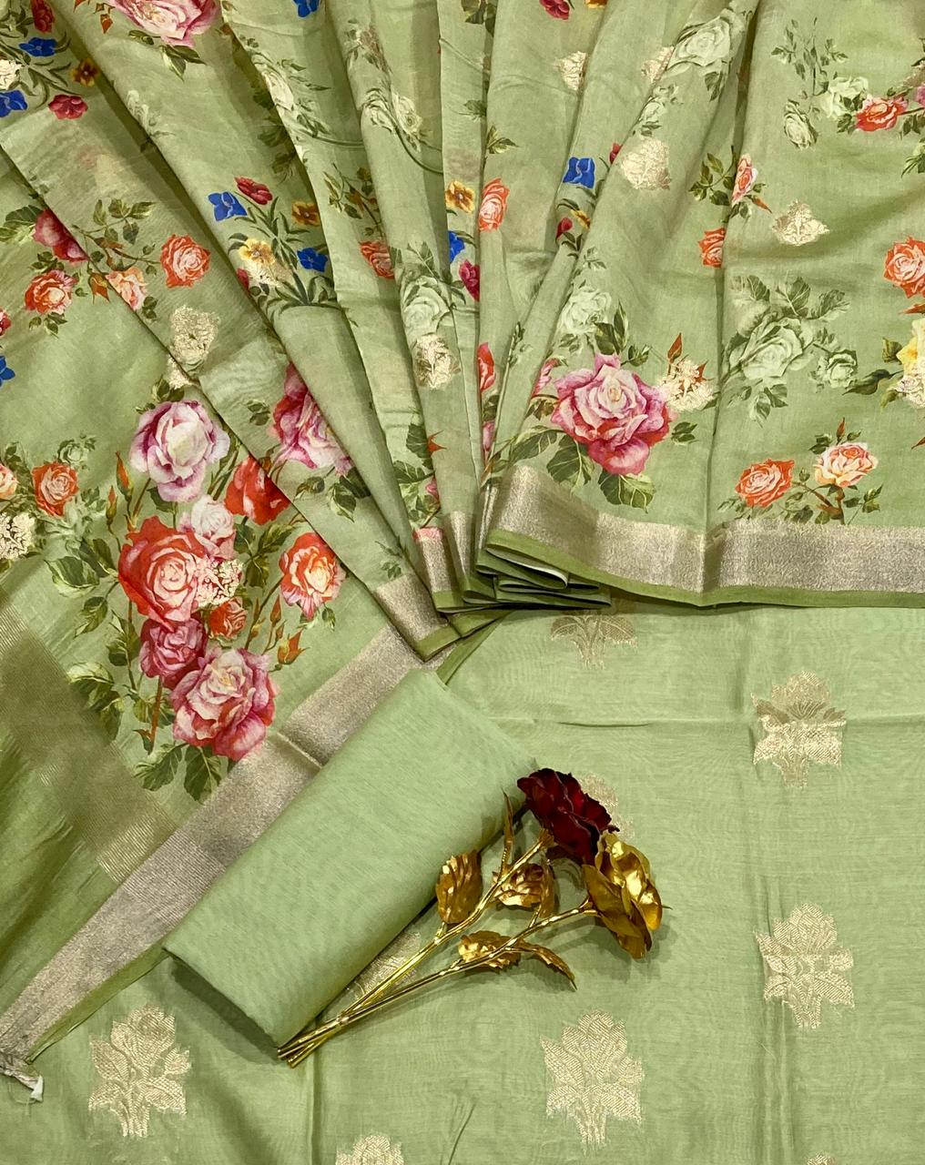 Chanderi Suit With Digital Print In Green