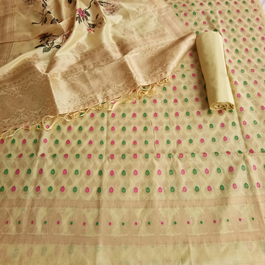 Chanderi Suit With Digital Print Dupatta In Cream Color