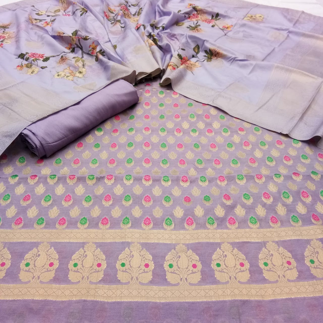 Chanderi Suit With Digital Print Dupatta In Purple