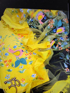 Yellow Hand Painted Organza Dupatta Salwar Suit