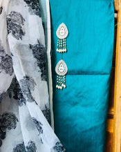 Load image into Gallery viewer, Rama Green Beautiful Organza Dupatta Salwar Suit