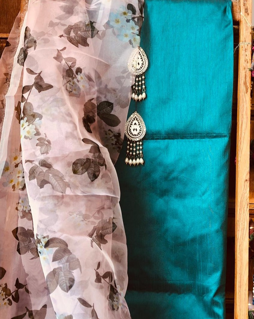 Rama Green Beautiful Organza Dupatta Salwar Suit