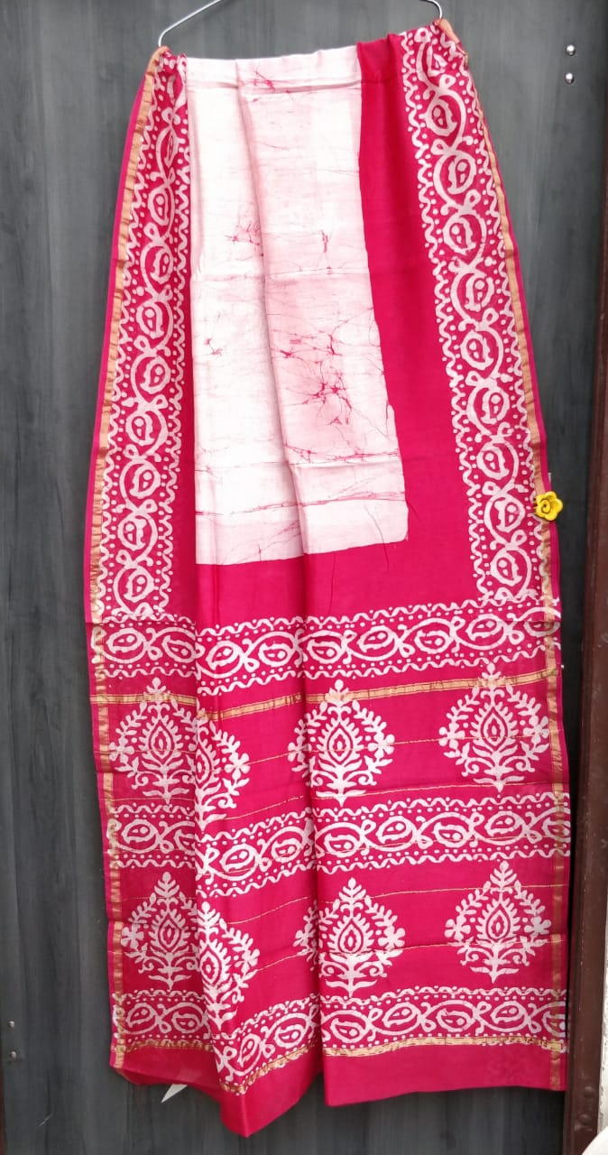 Pink Bagru Chanderi Saree