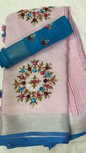 Linen Tissue Embroidred Saree In Pink
