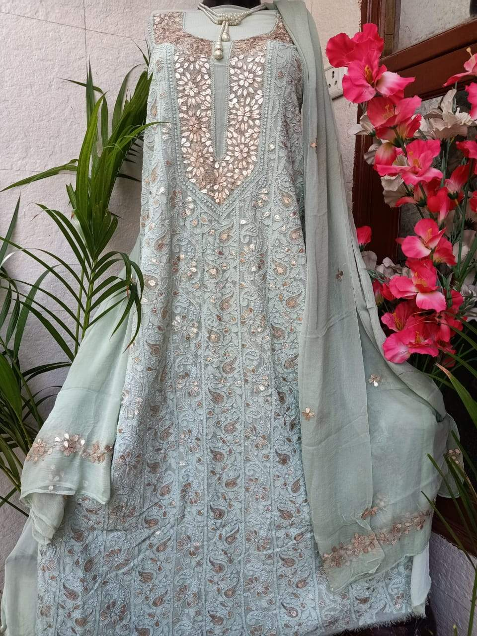 Ice Green Chikankari Gota Salwar Suit,Lucknowi Gota Salwar Suits