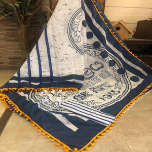 Indigo And White Bagru Saree With Pompom, Bagru Sarees Online