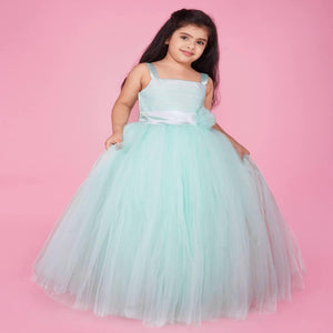 Indo Western Gown For Girl In Skyblue Color