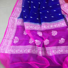 Load image into Gallery viewer, Inkblue And Pink Banarasi Khaddi Georgette Saree,  Pure Khaddi Georgette Sarees, Pure banarasi saree online