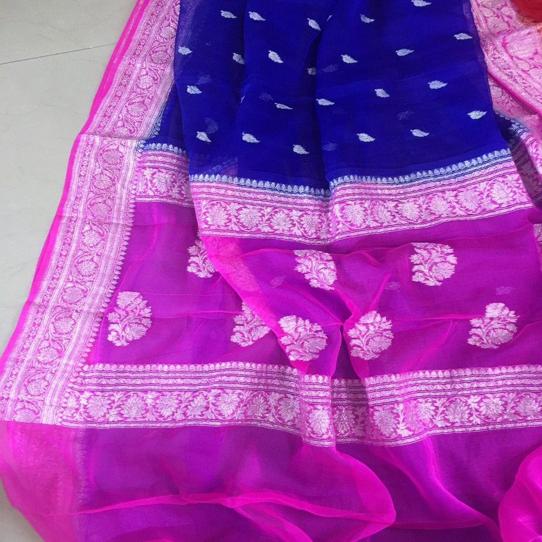 Inkblue And Pink Banarasi Khaddi Georgette Saree,  Pure Khaddi Georgette Sarees, Pure banarasi saree online