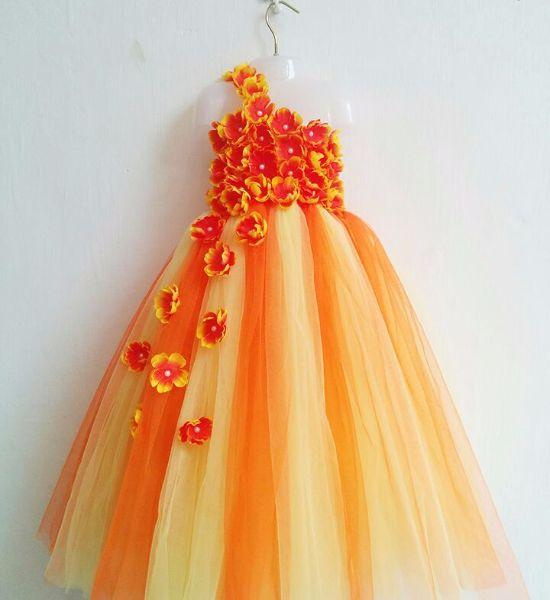 Cute Orange Party Wear Tutu Dress For Girls