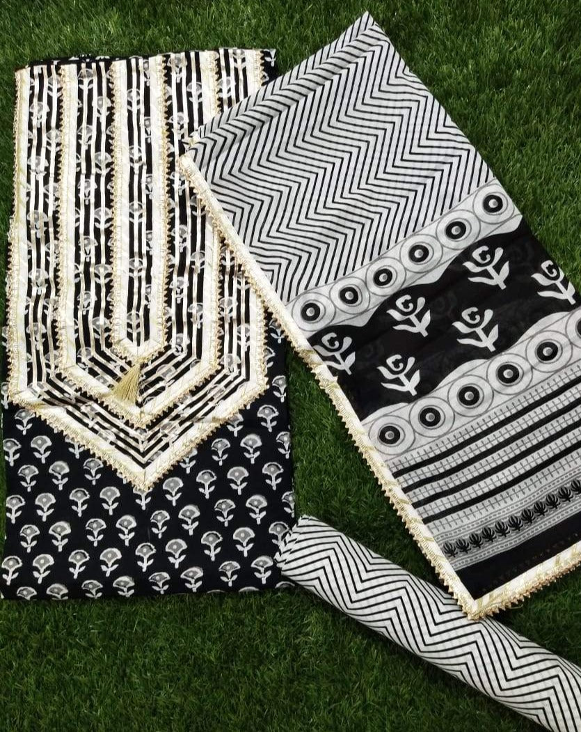 Jaipur Gota Block Printed Salwar Suits In Black White ,Traditional Salwar Suits,Casual Salwar Suits, Gota patti suits, Office Wear Casual Salwar Suits Jaipuri Gota Suits