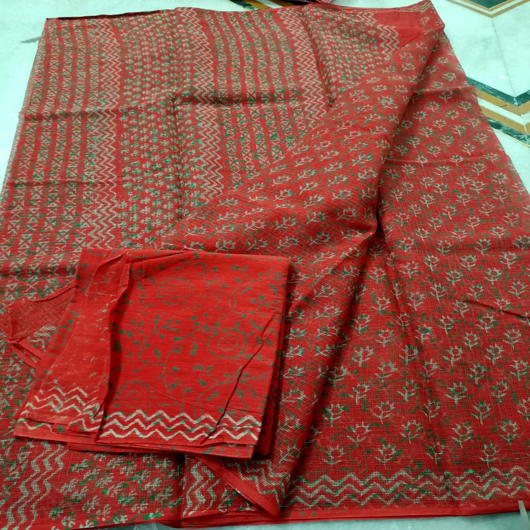 Kota Doria Hand Block Saree In Orange