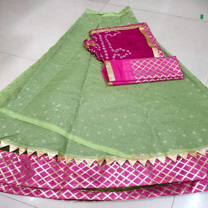 Kota Doria Lehenga In Light Green And Pink, Kota doria Lehenga, pure kota doria lehengas