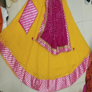 Kota Doria Lehenga Choli In Yellow And Pink, pure kota doria lehenga choli, Kota doria Lehengas in jaipur