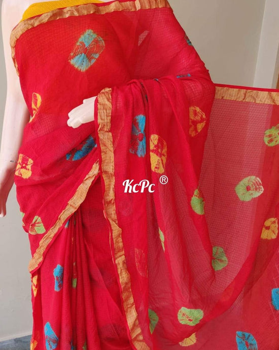 Kota Doria Saree In Orange ,kota doria saree with bandhej work