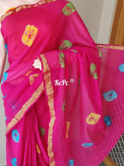 Kota Doria Saree In Pink ,kota sarees wholesale in rajasthan
