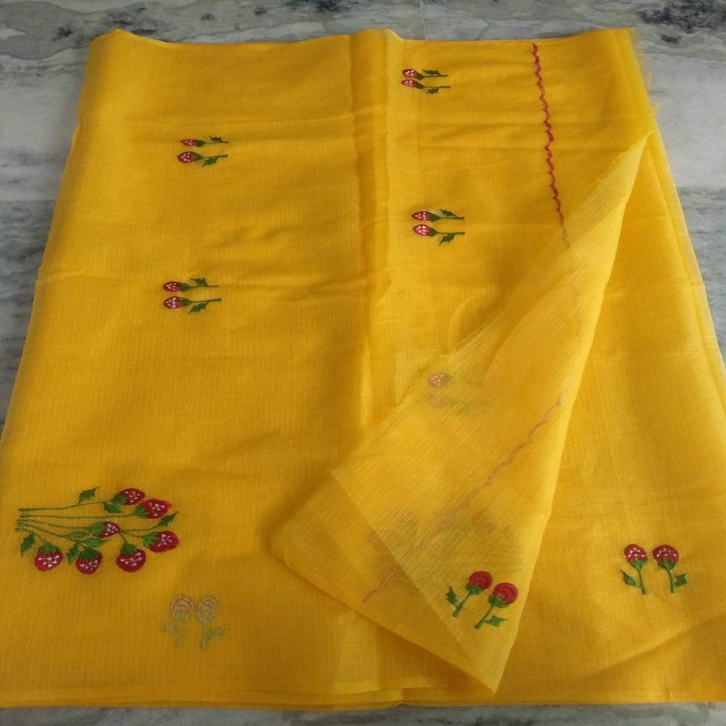Kota Embroidery Saree In Mango Yellow, Kota doria sarees, pure kota embroidery sarees
