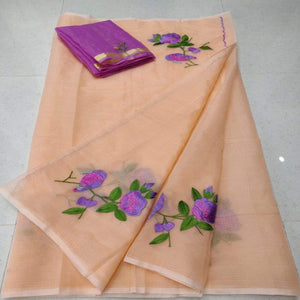 Kota Embroidery Saree In Peach, pure kota embroidery sarees, Kota sarees in jaipur