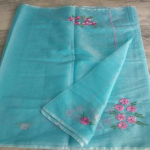 Kota Embroidery Saree In Sky Blue, Pure kota doria sarees, Kota embroidery sarees