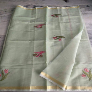 Kota Embroidery Saree In pista green, Kota cotton sarees online, kota cotton saree
