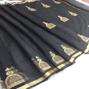 Kota Embroidery Work Saree In Black, Kota sarees online, pure kota sarees