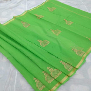 Kota Embroidery Work Saree In Green, Pure kota doria sarees, Kota embroidery sarees