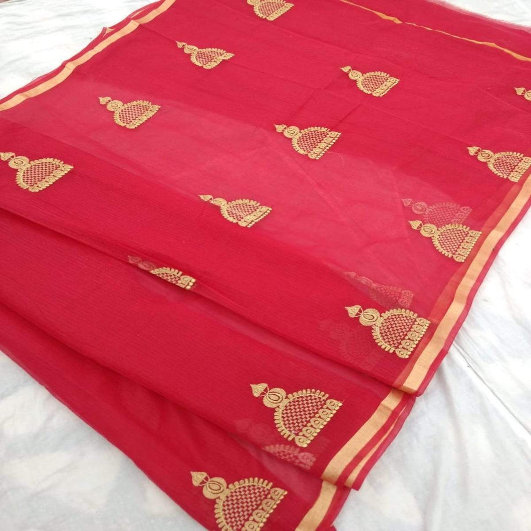 Kota Embroidery Work Saree In Red, pure kota embroidery sarees, Kota sarees in jaipur