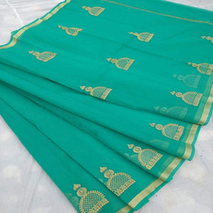 Kota Embroidery Work Saree In Seagreen, Pure kota doria sarees, Kota embroidery sarees