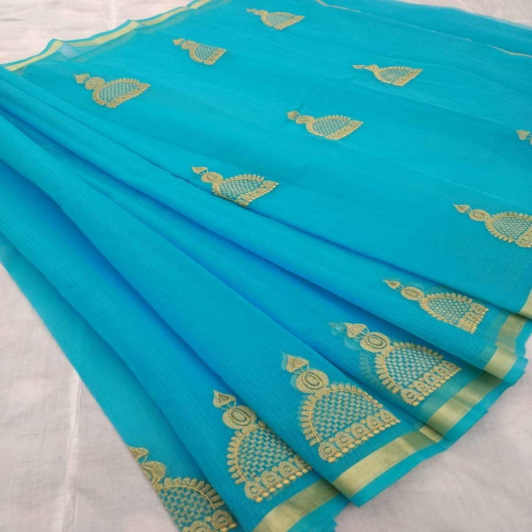 Kota Embroidery Work Saree In blue, Kota cotton sarees online, kota cotton saree