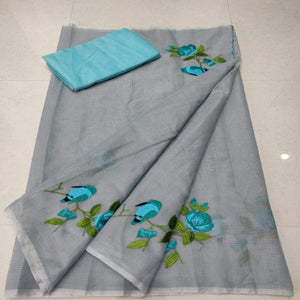 Kota Embroidery saree in Grey, pure kota embroidery sarees, Kota sarees in jaipur
