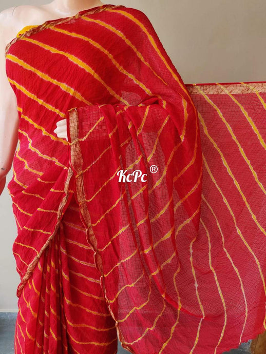 Kota Lehriya Saree In Red ,kota sarees wholesale in rajasthan