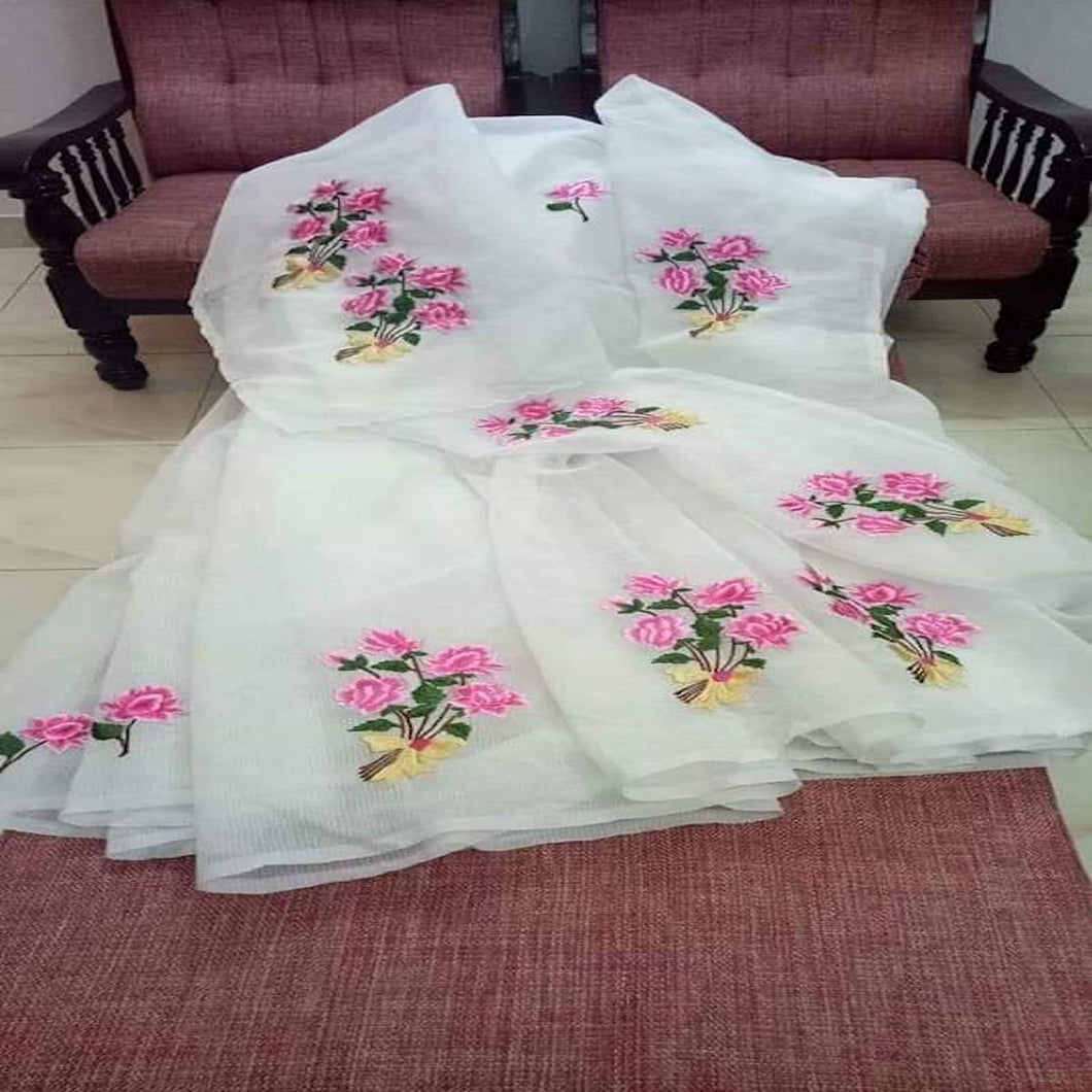 Kota White Color Embroidery Saree, pure kota embroidery sarees, Kota sarees in jaipur