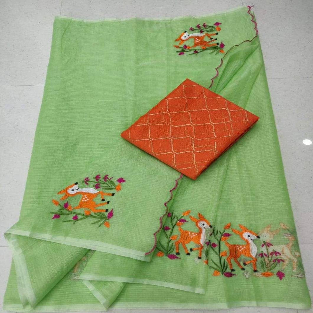 Kota embroidered saree in green and orange, Pure kota doria sarees, Kota embroidery sarees