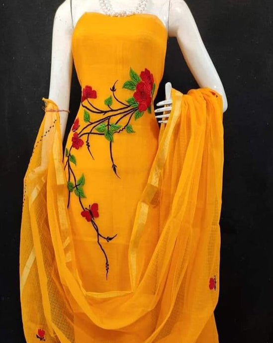 Kota embroidered suit in bright yellow, Kota suits online, kota doria fabric with zari border