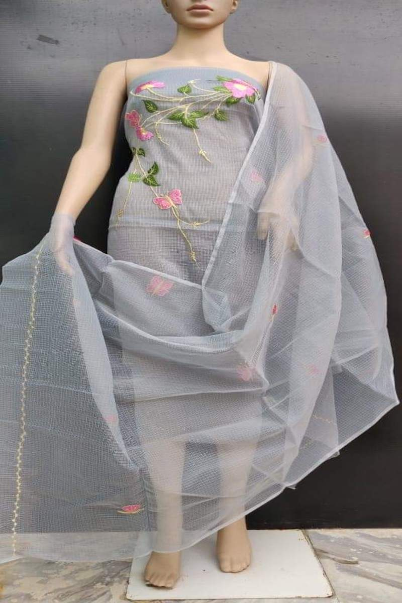 Kota embroidered suit in grey, Grab kota embroidred salwar suits online, Kota suits online
