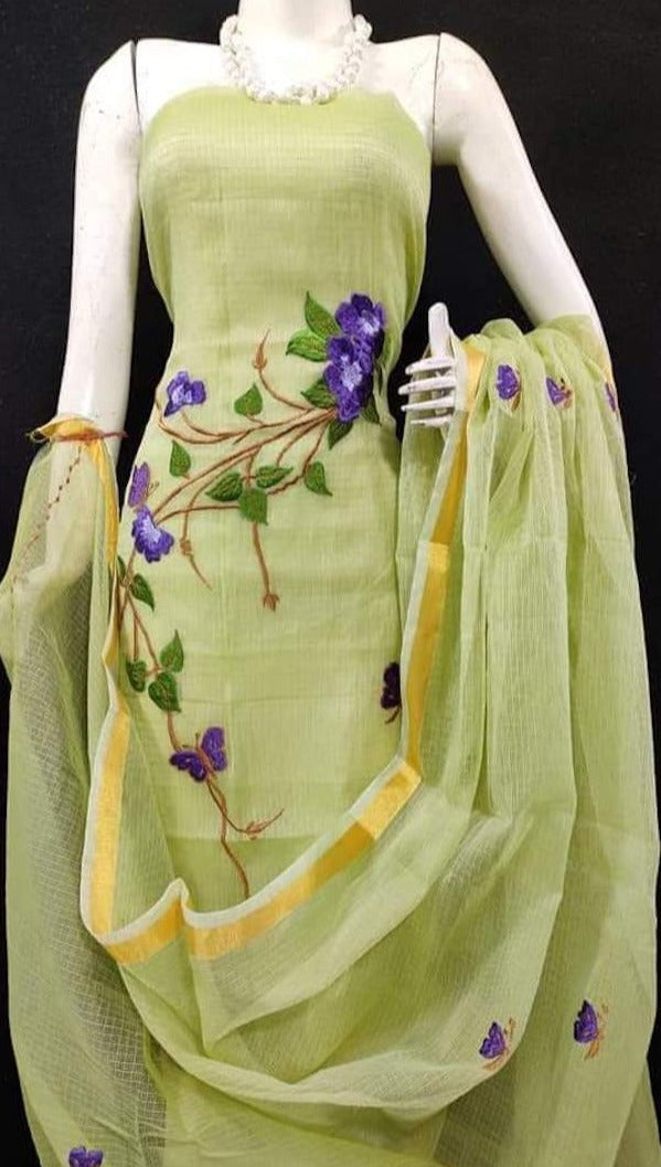 Kota embroidered suit in lemon yellow, Kota embroidred suit designs, kota doria suits online