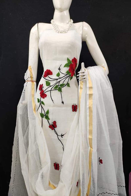 Kota embroidered suit in white, Kota embroidred suit designs, kota doria suits online
