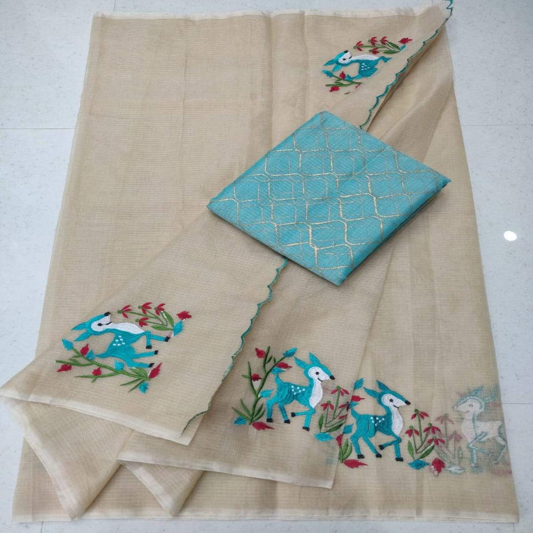 Kota embroidery in light brown, pure kota embroidery sarees, Kota sarees in jaipur