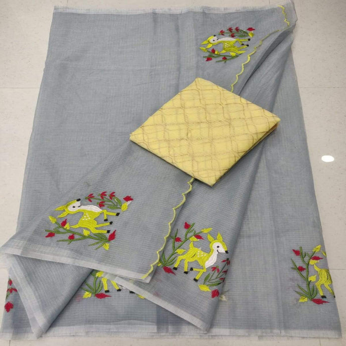 Kota embroidery saree in grey color, Kota sarees online, pure kota sarees