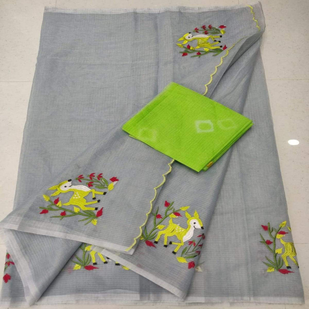 Kota embroidred saree in grey, Kota doria sarees, pure kota embroidery sarees