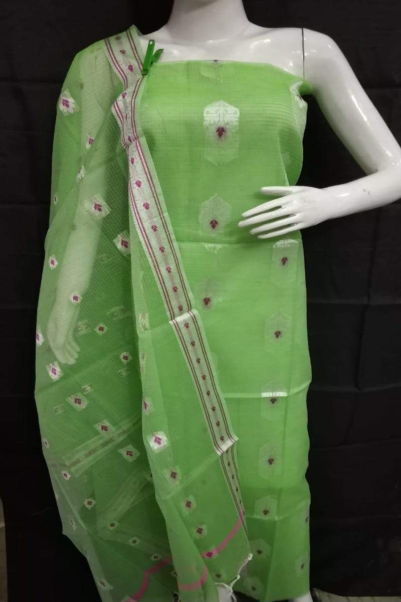 Kota suit in parrot green, kota doria fabric with zari border, kota doria embroidered suits with dupatta