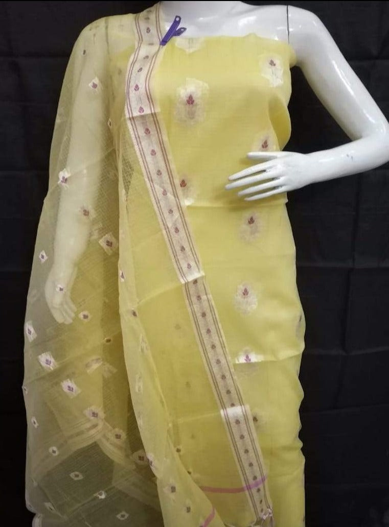 Kota suit in yellow, kota doria fabric with zari border, kota doria embroidered suits with dupatta