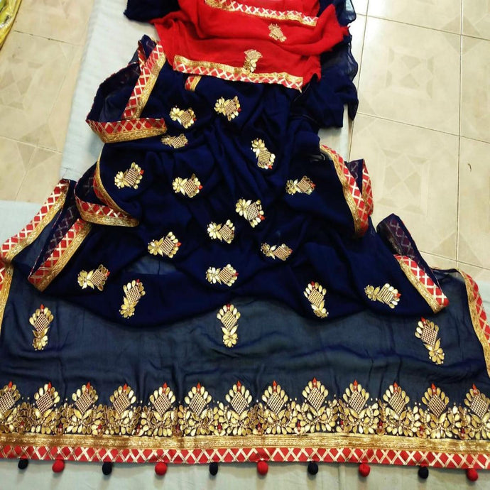 Latest Gota Patti Handwork Sarees In Blue, Indian Sarees, Gota Patti Saree, Jaipuri Saree.